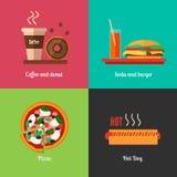 Fasta food menu ikony pizza, hamburger, hot dog, kawowa papierowa filiżanka i czekolada pączek, royalty ilustracja