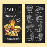 Fasta food menu plakat Kredowy nakreślenie na blackboard Obraz Royalty Free