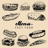 Fasta food menu w wektorze Hamburgery, hot dog, ściskają ilustracje Przekąska bar, uliczna restauracja, cukierniane ikony Zdjęcie Stock