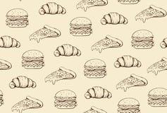 Fasta food nakreślenia wzoru koloru pastelowy beżowy wektor Zdjęcia Stock