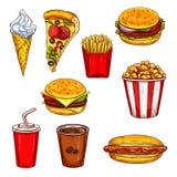 Fasta food nakreślenie ustawia z hamburgerem, napój, deser ilustracja wektor