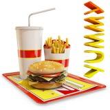 Fasta food posiłek odizolowywający z yummy tekstem Zdjęcia Stock