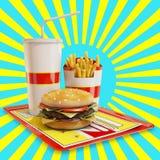 Fasta food posiłek z żółtym i błękitnym tłem Zdjęcia Royalty Free