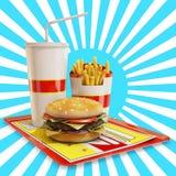 Fasta food posiłek z białym i błękitnym tłem Zdjęcia Stock