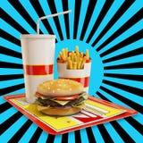 Fasta food posiłek z białym i czarnym tłem Fotografia Stock
