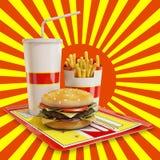 Fasta food posiłek z czerwonym i żółtym tłem Obrazy Royalty Free