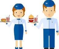 Fasta food pracownik dostarcza jedzenie i napój Kreskówki mieszkanie v Zdjęcie Royalty Free