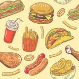 Fasta Food ręka Rysujący Bezszwowy wzór z hamburgerem, kurczakiem i dłoniakami, Zdjęcia Stock