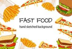 FASTA FOOD ręka skeched WEKTOROWY tło Obrazy Royalty Free