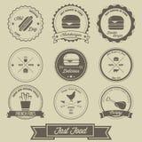 Fasta Food rocznika etykietka Obrazy Royalty Free