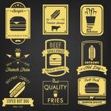 Fasta Food rocznika etykietka Zdjęcia Royalty Free