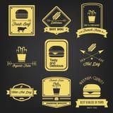 Fasta Food rocznika etykietka Obraz Royalty Free