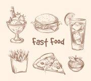 Fasta food wektorowy ustawiający w ręka rysującym nakreślenie stylu Zdjęcia Stock