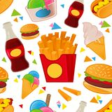 Fasta food wzoru set royalty ilustracja