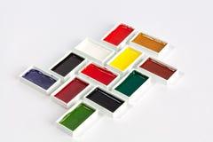 Fasta vattenfärgpannor för rektangel arkivfoto