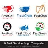 Fastar tjänste- Logo Template Design Vector Stock Illustrationer