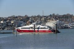 Fastcat passenger ferry berthed, River medina, Isle of Wight, UK stock photos