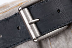Fasten belt on bright jeans Royalty Free Stock Photography