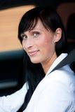 Fasten seat belt. Woman in car with fasten seat belt Royalty Free Stock Photo