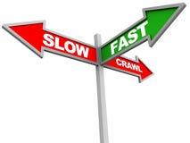 Fasten Sie gegen langsames oder sehr langsames Stockbilder
