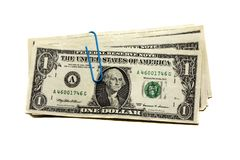 Fastened (assembled together) dollars Stock Images