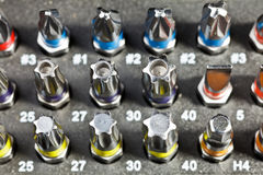 Fastener Bit Set. Various fastener bits in a box close-up stock photography