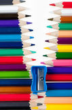 Fastener from color pencils. Abstract concept royalty free stock photography