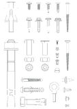 Fasteners. Outline each individually layered Royalty Free Illustration
