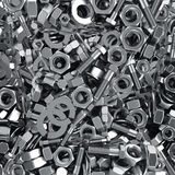 Fasteners background. Heap of fasteners objects, industrial background stock illustration