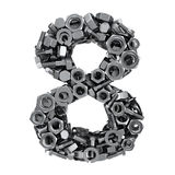 Fasteners 8. Big digit Eight made from metal fasteners stock illustration