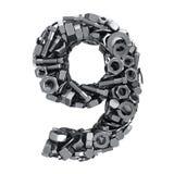 Fasteners 9. Big digit Nine made from metal fasteners stock illustration