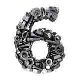 Fasteners 6. Big digit Six made from metal fasteners vector illustration
