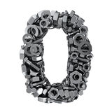 Fasteners 0. Big digit Zero made from metal fasteners vector illustration