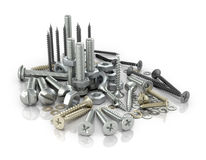 Fasteners, bolts, nuts and screws and screws. On a white background.3D illustration royalty free illustration