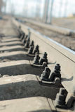 Fasteners of the rails Royalty Free Stock Photo
