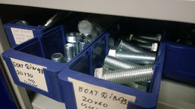 Fasteners in stock. In Russia royalty free stock photo