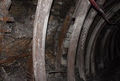 Fasteners tunnel in a coal mine Royalty Free Stock Image