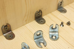 Fastening details at manufacturing of wooden furniture Stock Image