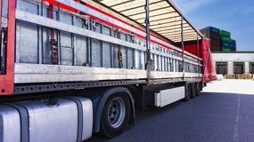 . fastening of freight in the trailer . distribution warehouse . Transportation . There is a loading to the truck trailer . Truck Trailer . Cargo Transportation royalty free stock image