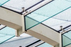 The fastening of the glass roof to the glass beams royalty free stock photos