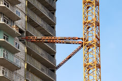 Fastening of the modern tower crane Royalty Free Stock Image