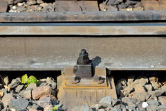 Fastening rails to wooden sleeper Royalty Free Stock Image