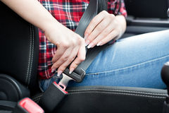 Fastening seat belt Stock Photography