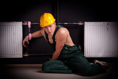 Fastening worker. Royalty Free Stock Images