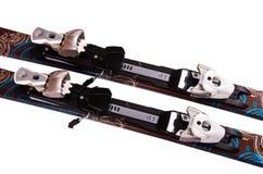 Fastenings op de geïsoleerdeg skis, Royalty-vrije Stock Fotografie