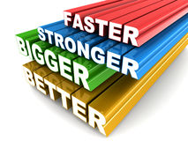 Faster bigger stronger better. Faster stronger bigger better words zooming into view, concept of getting better and better in anything you do Stock Photo