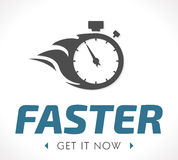 Faster logo. Logo - fast fire stopwatch concept stock illustration