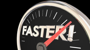 Faster Word Speedometer Quick Action Acceleration. 3d Illustration Royalty Free Stock Photos
