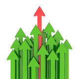 Fastest arrow. Red arrow ahead of green arrows isolated on the white background Royalty Free Stock Image