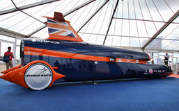 Fastest Car in the World. Bloodhound is the name of a project aiming to break the land speed record with a pencil-shaped car powered by a jet engine and a rocket Royalty Free Stock Photos